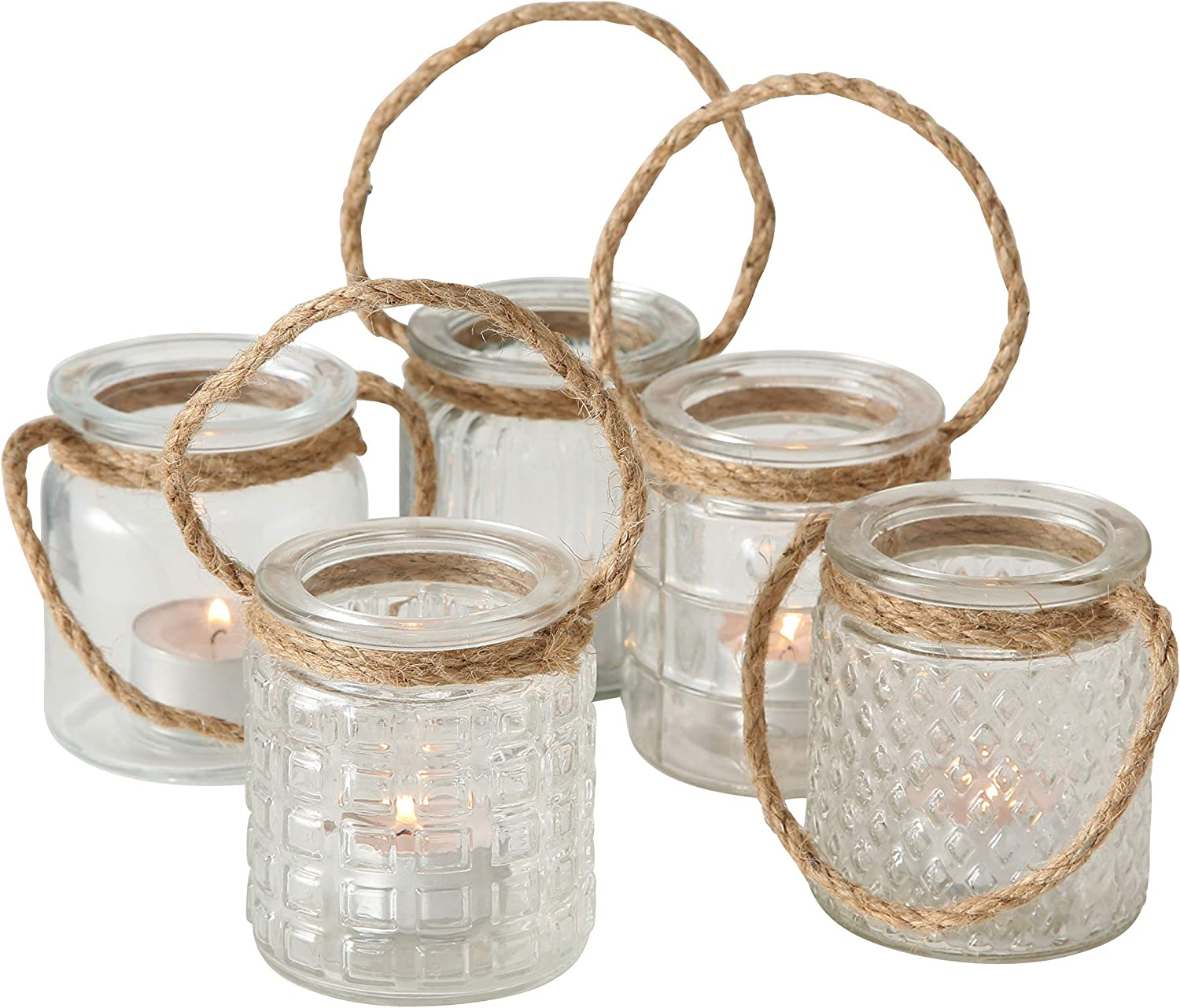 Whole House Worlds Beach Chic Nautical Rope Hurricane Lamps, Clear Glass Candle Holder, for LED or Wax Votive, Pillar or Tealights, Wind Light, Set of 5, 2 3/4 x 2 3/4 x 3 1/2 Inches