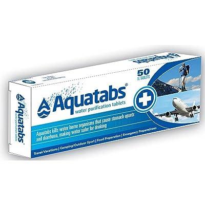 Boite AQUATABS de 50 pastilles purificateur d'eau accessoire de survie /vacances