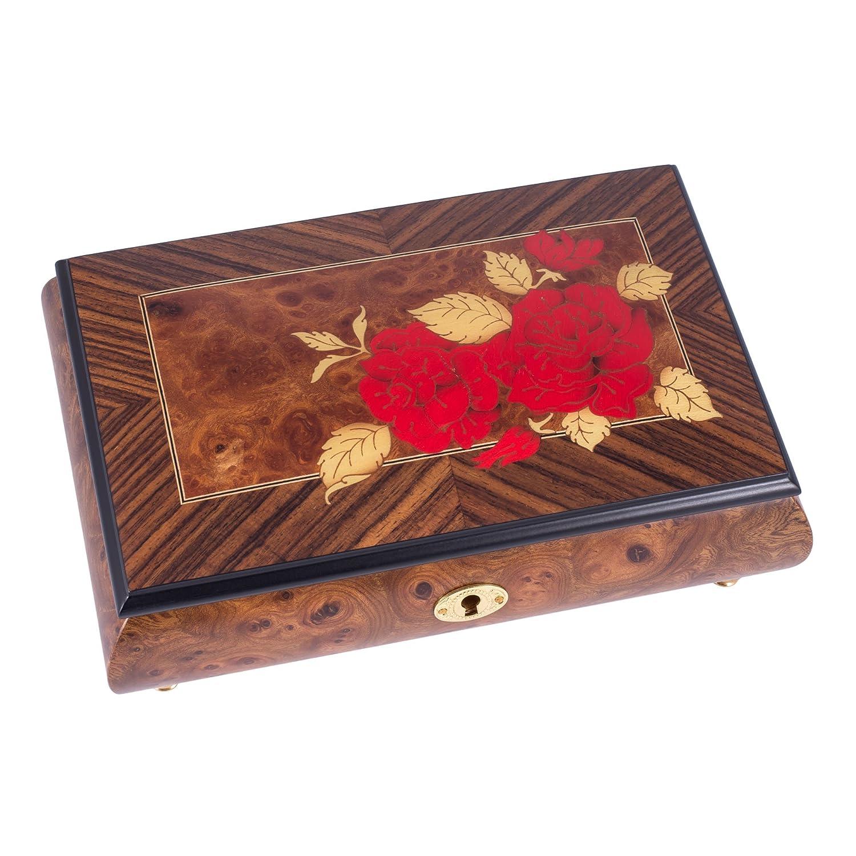 品多く 赤いバラ B00UCDFOCO イタリア製 ハンドクラフト 象嵌 象嵌 イタリア製 木製オルゴール付きジュエリーボックス - 花のワルツを奏でる B00UCDFOCO, 灘区:b1c4eea9 --- arcego.dominiotemporario.com