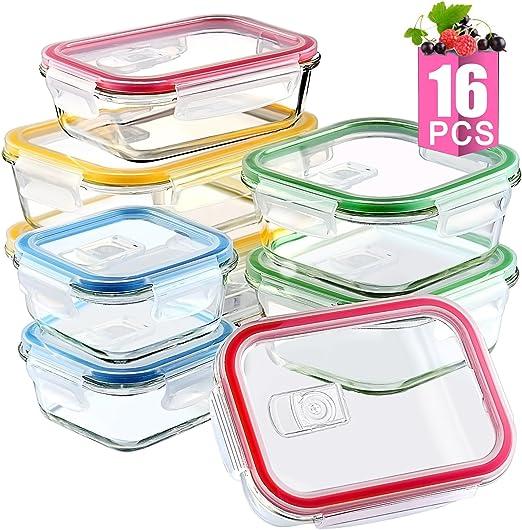Pack de 4 recipientes de cristal para comida con tapa ...