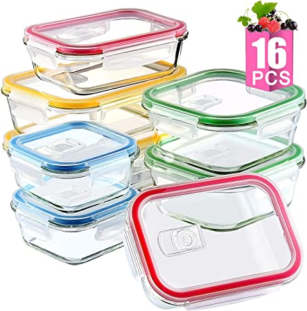 Amazon.com: 16 recipientes de almacenamiento de alimentos de ...