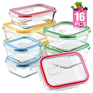 Mealcon Meal Prep Glass Food Storage Containers with Lids, 16 Pieces Set, Multi Colored