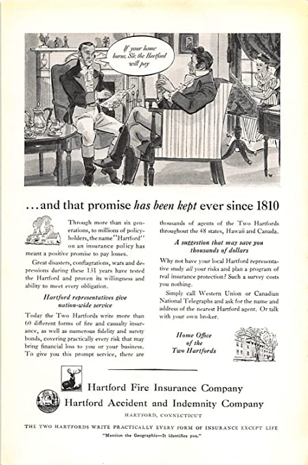 The Hartford Insurance Address >> Amazon Com Print Ad 1941 Hartford Fire Insurance Hartford Accident