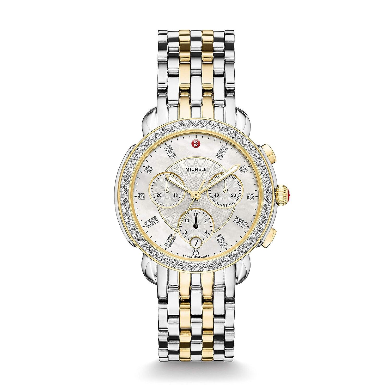Michele Womens Sidney Diamond Bezel Two-Tone Stainless Steel Watch