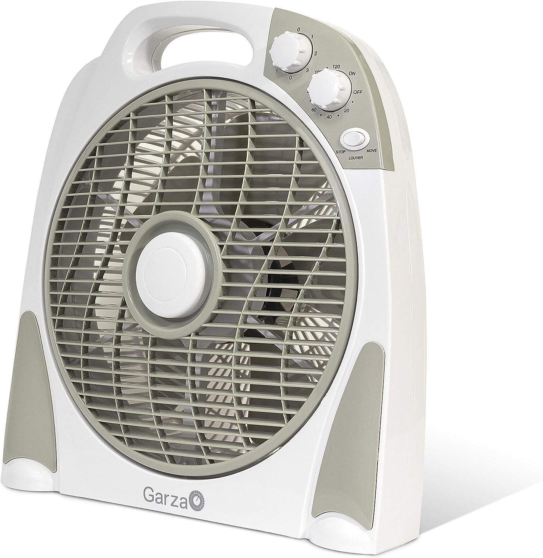 Garza BÓREAS - Turbo Ventilador Portátil de Sobremesa de 3 Velocidades, Potencia 50W, Temporizador Programable hasta 120 minutos, Control de Difusor Multidireccional y Silencioso, Color Blanco