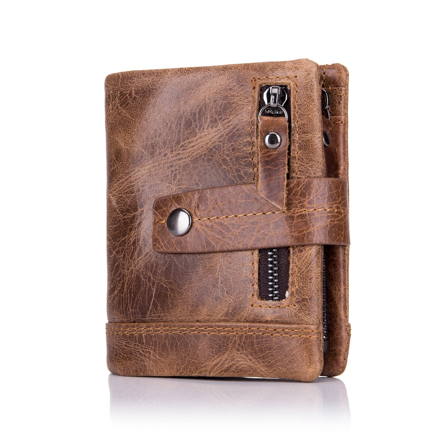 2ec4f42a19538 Amazon.com  BULL CAPTAIN Men s Wallet Leather Front Pocket Premium Leather  Bifold Wallets with Zipper Coin Pocket Pouch QB-4 (Brown)  Shoes