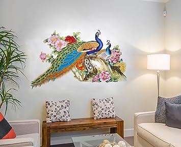Decals Design Wall Sticker For Living Room Peacock Birds Nature (Pvc Vinyl,  Multicolor) Part 65
