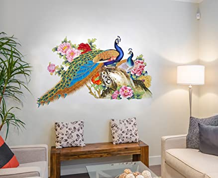 Decals Design Wall Sticker For Living Room Peacock Birds Nature Pvc Vinyl Multicolor