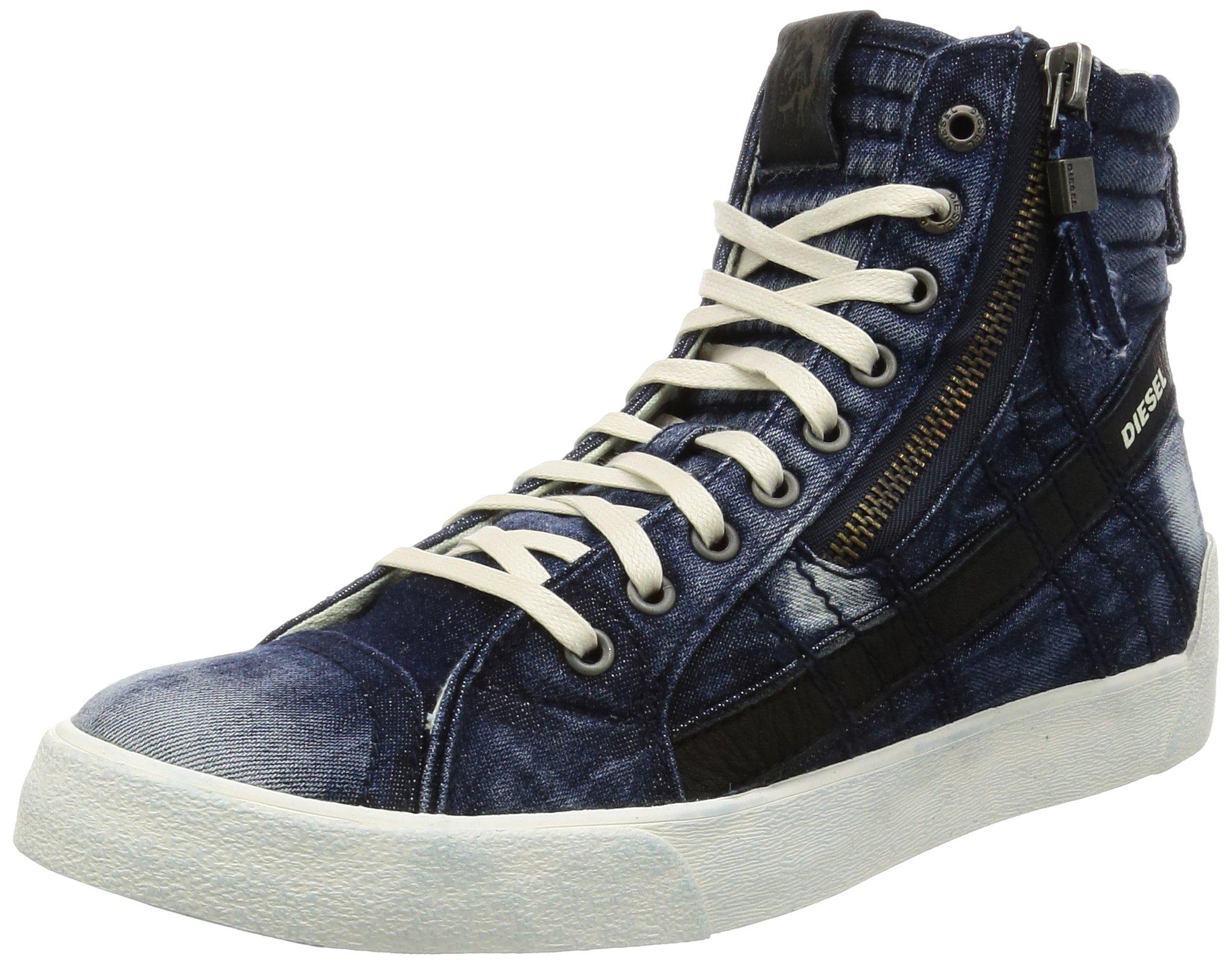 Diesel Men's D-Velows D-String Plus Denim Fashion Sneaker, Indigo, 10.5 M US