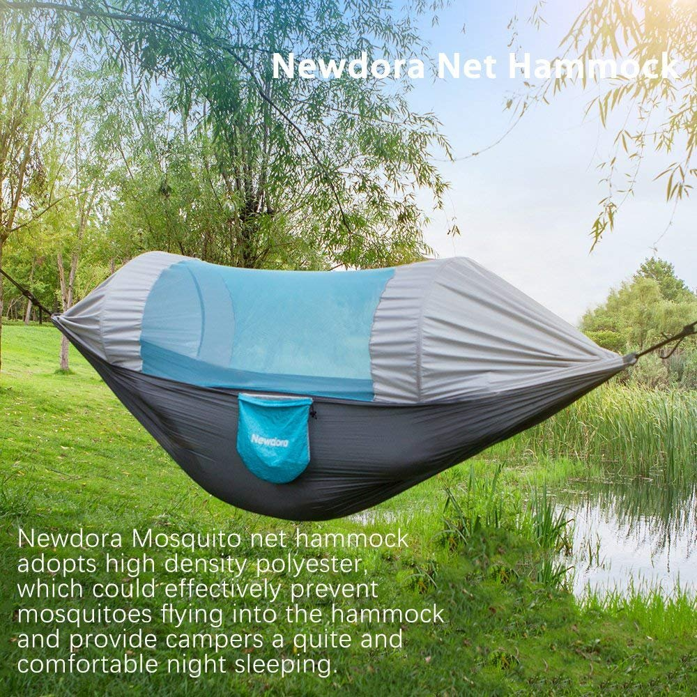 Backpacking Ultralight Portable Windproof Newdora Hammock with Mosquito Net 2 Person Camping Travel Hiking Swing Sleeping Hammock Bed with Net and 2 x Hanging Straps for Outdoor Anti-Mosquito