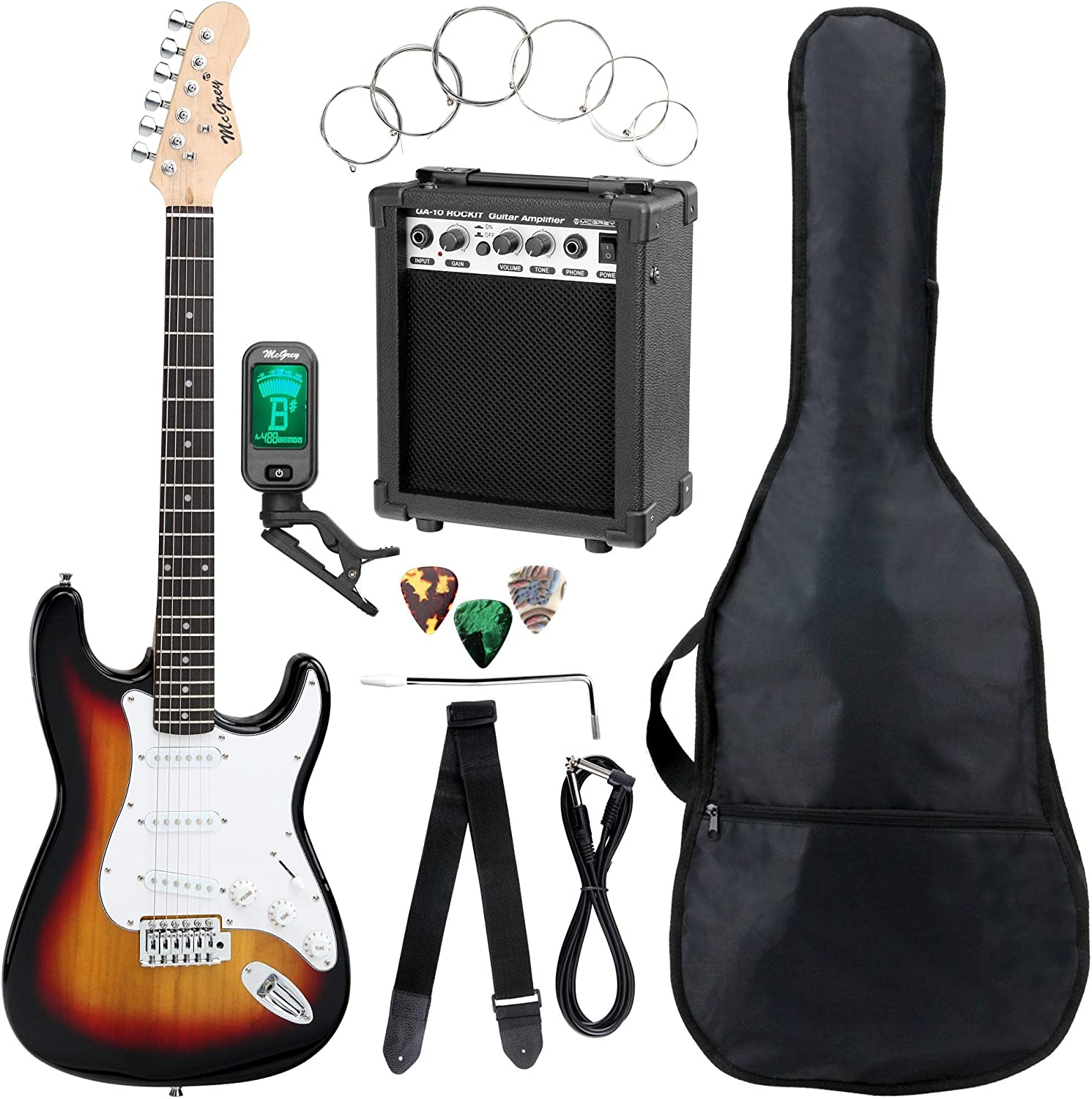 McGrey Rockit guitarra eléctrica set completo ST Sunburst: Amazon ...