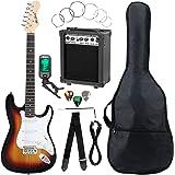 McGrey Rockit ST Komplettset E-Gitarre (8-teiliges Anfängerset mit Gitarre, Verstärker, Ersatzsaiten, Gitarrentasche, Stimmgerät, Plektren, Gurt und Gitarrenkabel) Sunburst