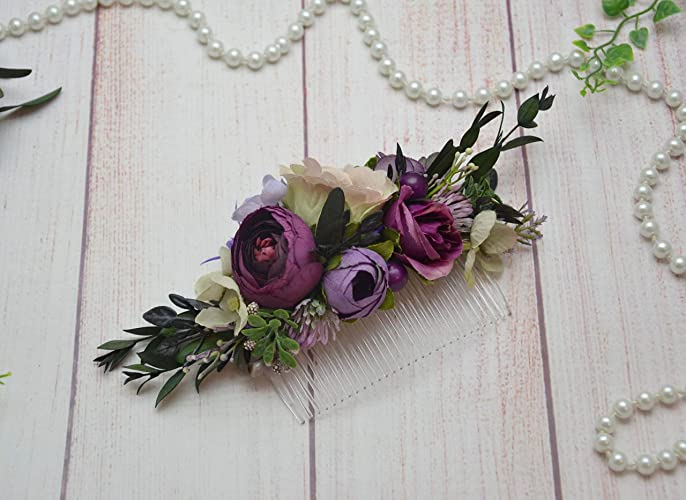f97c64ae74649d Amazon.com  Purple eucalyptus flower comb wedding floral hair piece Bridal  hair comb Bride Boho headpiece  Handmade