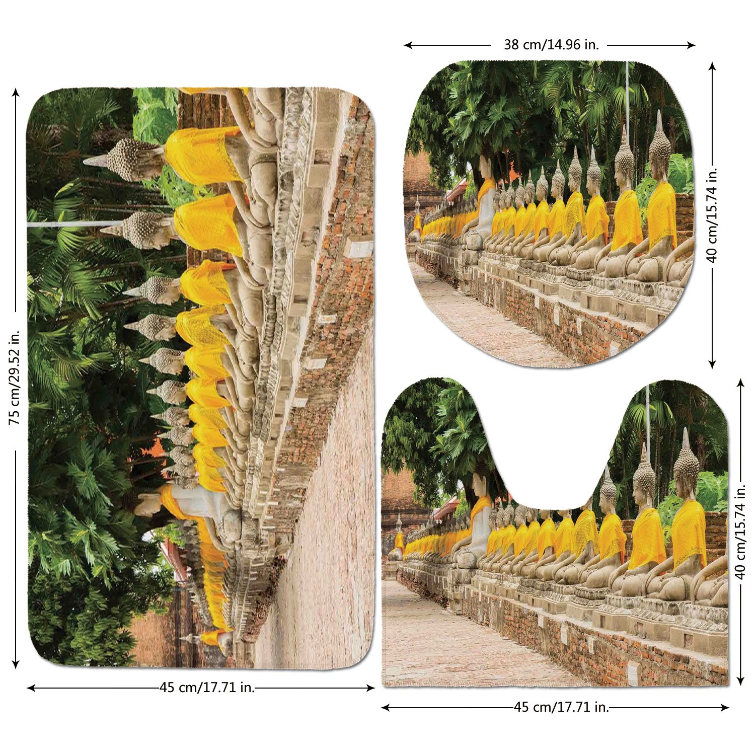 3 Piece Bathroom Mat Set,Asian-Decor,Picture-of-Religious-Statues-in-Thailand-Traditional-Thai-Home-Decor-Decorative,Cream-Yellow-Green.jpg,Bath Mat,Bathroom Carpet Rug,Non-Slip by iPrint