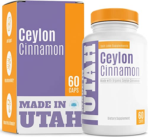 Organic Ceylon Cinnamon for Joint Health and Optimal Blood Sugar Levels – Rich in Antioxidants to Boost Overall Health Well-Being – 60 Capsules