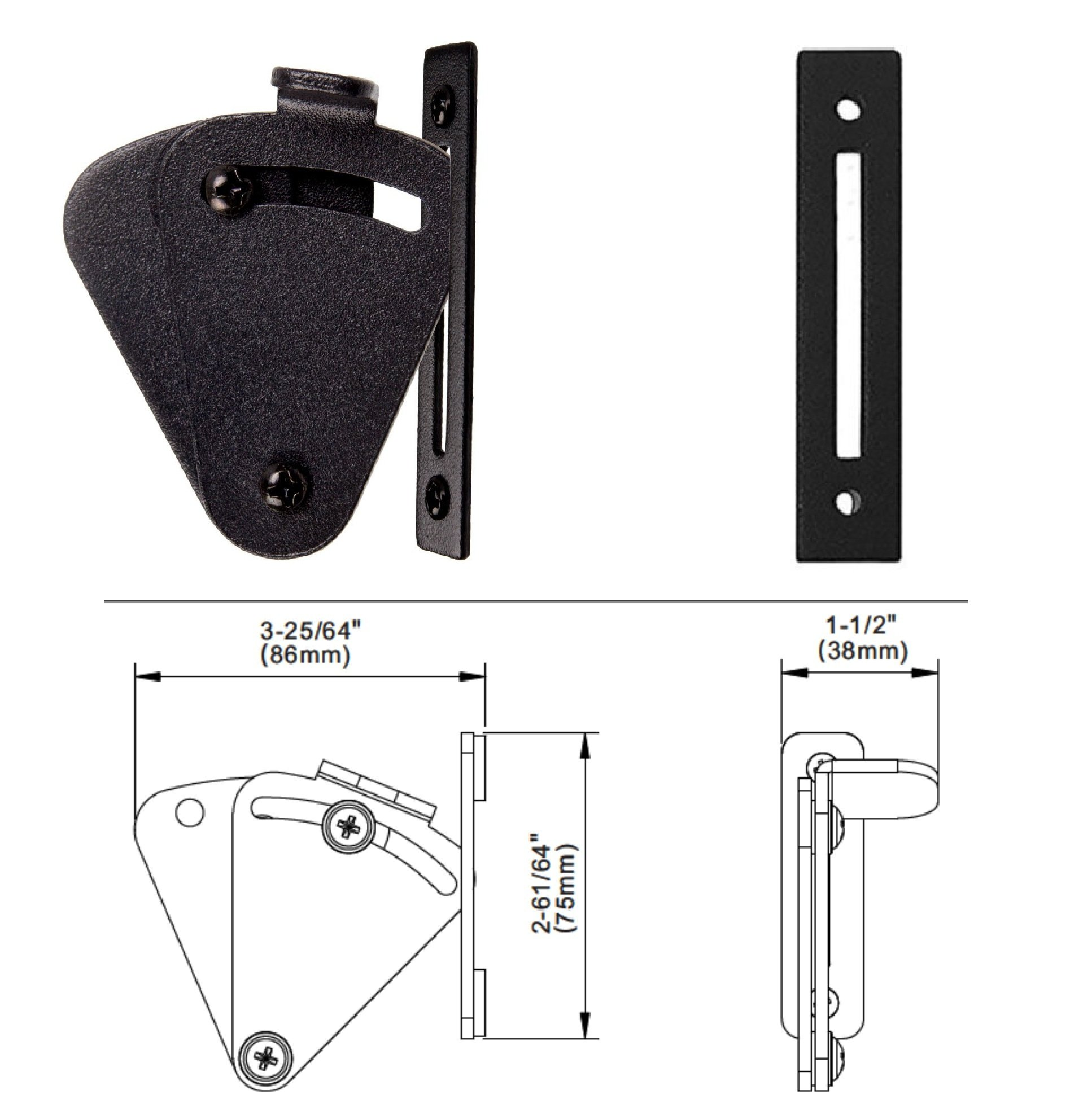 FLORADIS PULL AND FLUSH HANDLE SET 12'' for SLIDING BARN DOOR HARDWARE / FIT DOORS UP TO 2 1/3''/ FLUSH BACK PLATE/3 Pairs of Different Lengths Screws/ Door Lock Latch/Frosted Black Satin Powder Coating