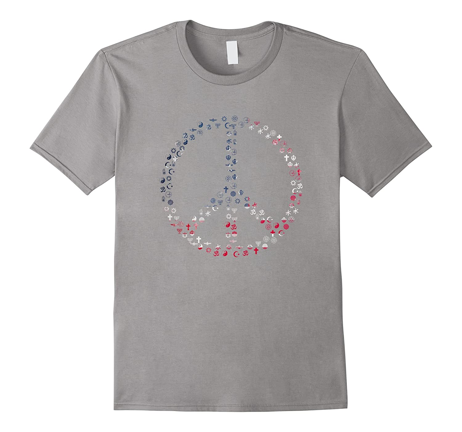 All Faiths Peace Sign With American Flag Background T-Shirt-TD