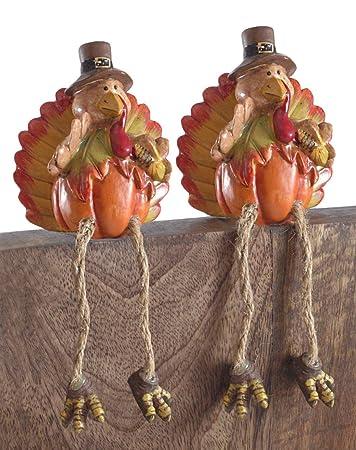 Pumpkin Turkey Resin Shelf Sitters – Set of 2