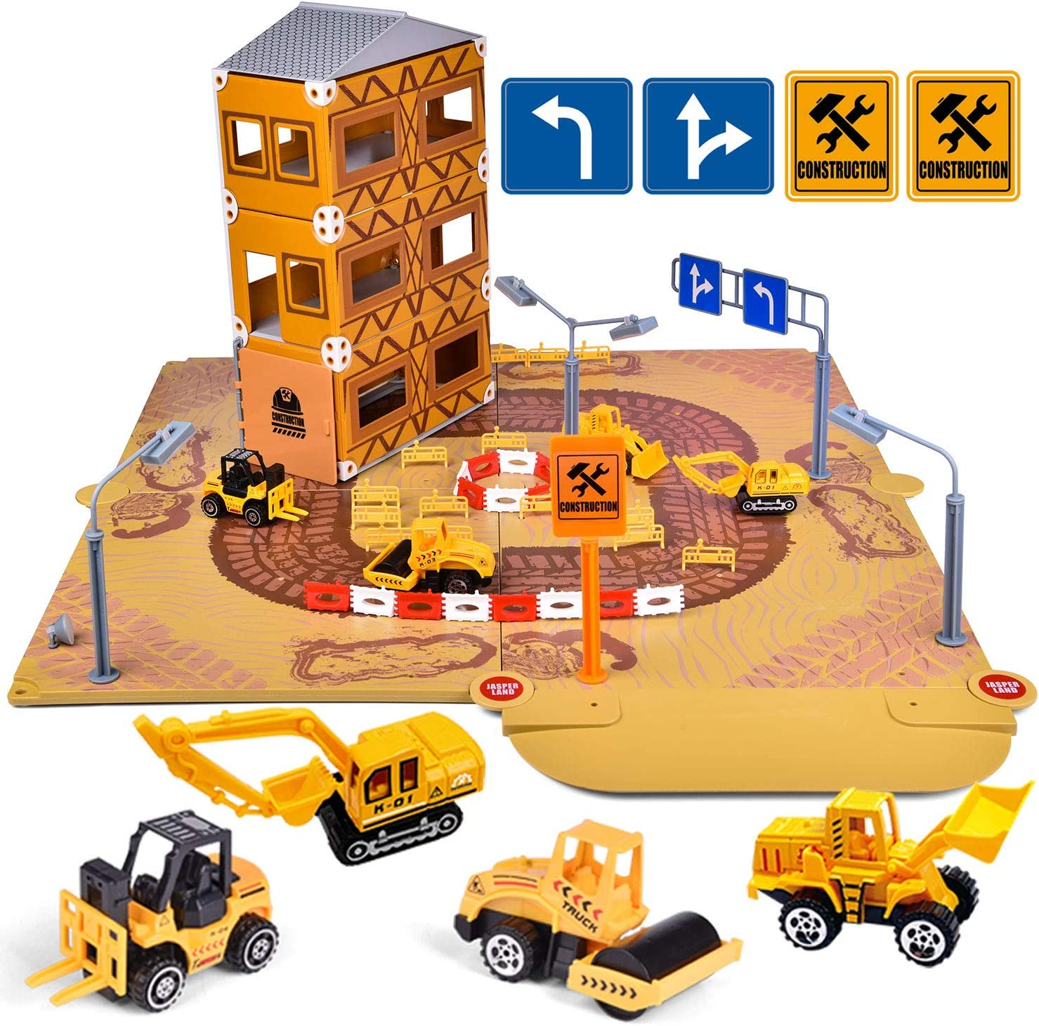 FunLittleToys Construction Site Toys Building Toy with 4 Pull Back Die Cast Construction Trucks and Street Signs for Boys