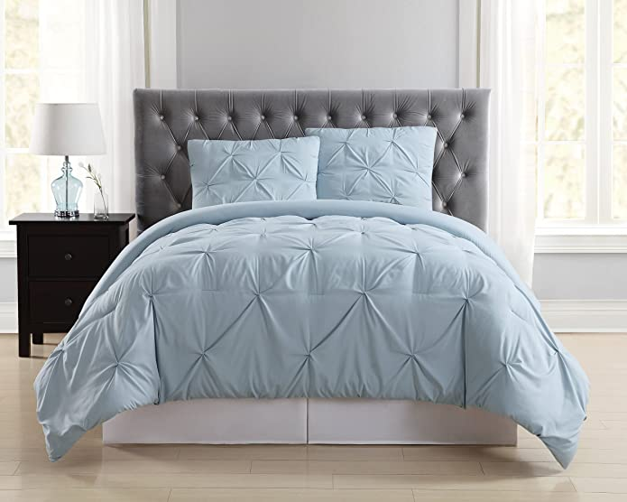 Truly Soft Everyday King Pleated Comforter Set Light Blue
