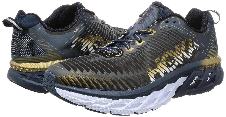 HOKA ONE ONE Mens Arahi Running Shoe B01H6AYCDM 7 D(M) US|Midnight Navy/Metallic Gold