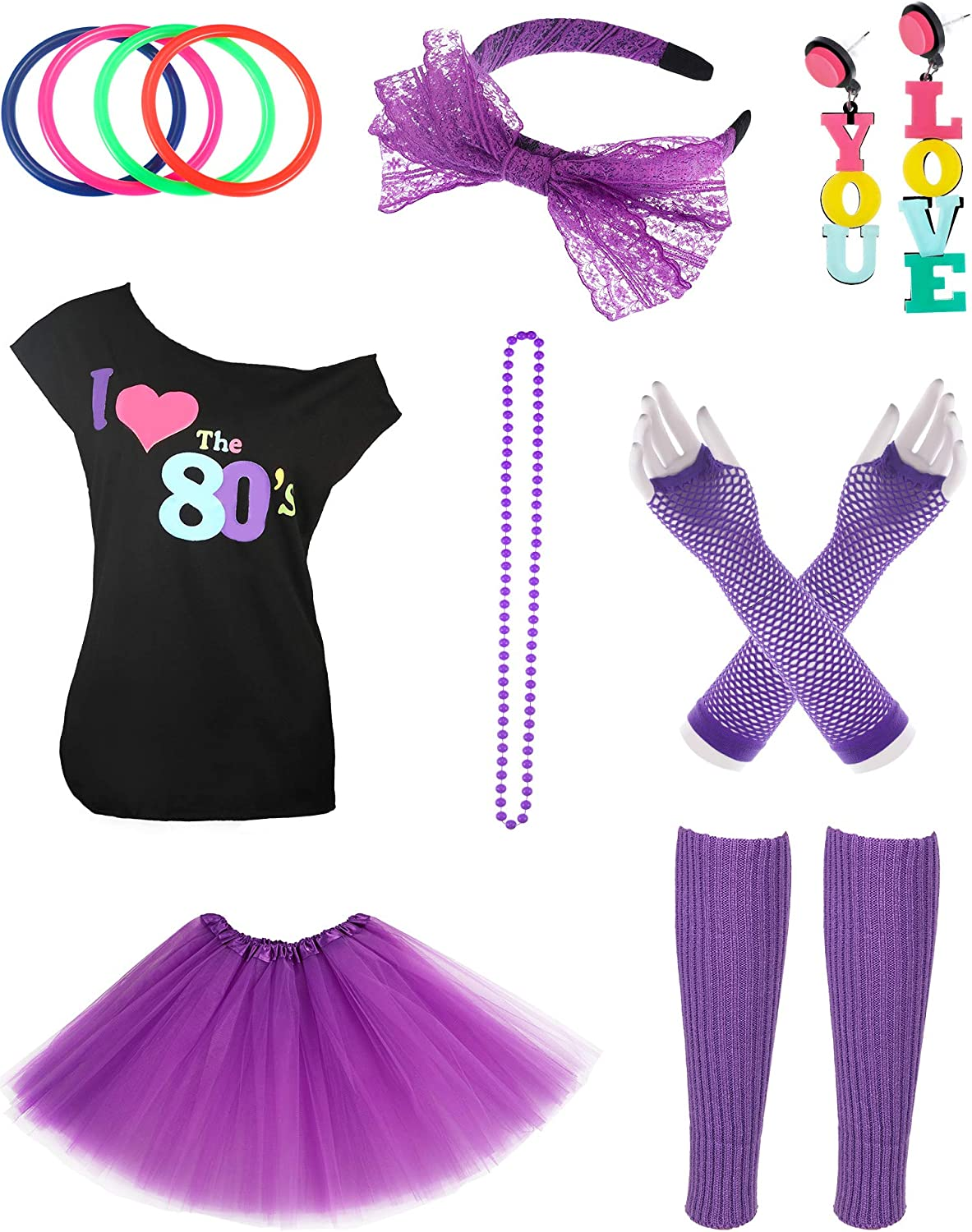 Jetec 9s Costume Accessories Set I Love 9s Skirt Necklace Bangle Leg  Warmers Earrings Gloves T-Shirt for Party Accessory (L Size (for 9-9  Years