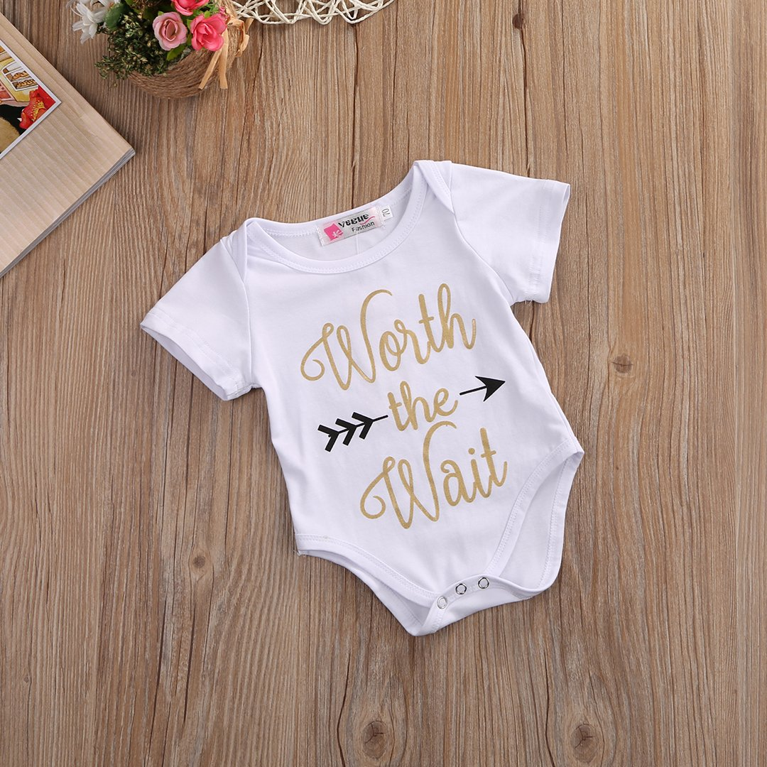 Infant Baby Golden Shiny Words Print Arrow Pattern Romper Bodysuit Outfits (3-6 M, White) by Mrs.Baker'Home (Image #2)