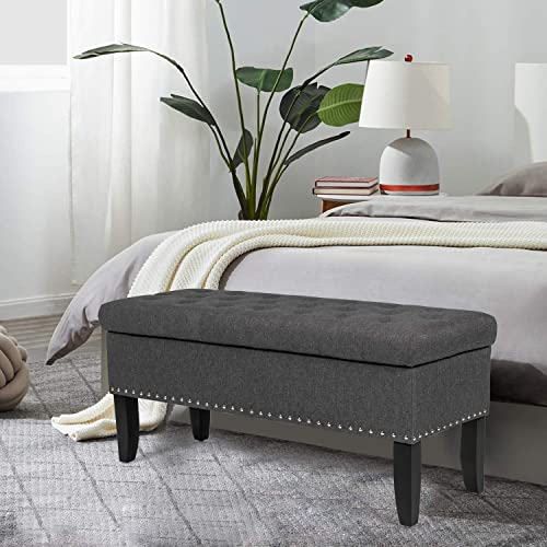 Storage Ottoman Bench, Button Tufted Footrest, Rectangular Fabric Footstool with Nailhead Trim Hinged Lid Grey
