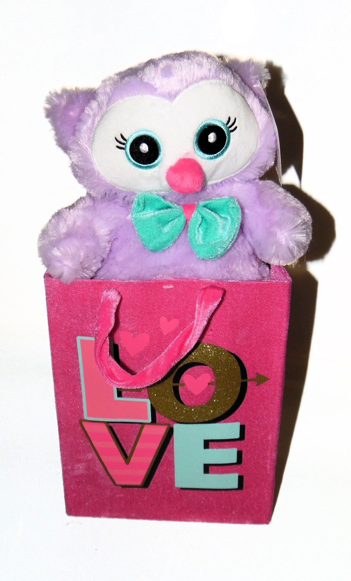 Purple Owl Pal Stuffed Animal Plush in a Stiff Velvet Bag with LOVE printed on it
