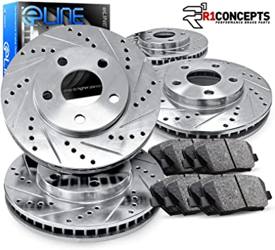 Rear Drilled Slotted Brake Rotors And Ceramic Pads For 2008-2013 Infiniti G37