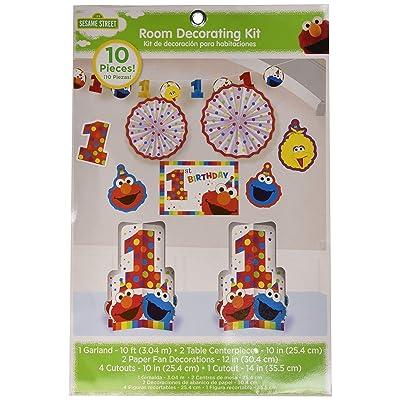 amscan 1st Birthday Elmo Room Decorating Kit 10 Piece Party Supplies Elmo Sesame Street Fun to be One!: Toys & Games