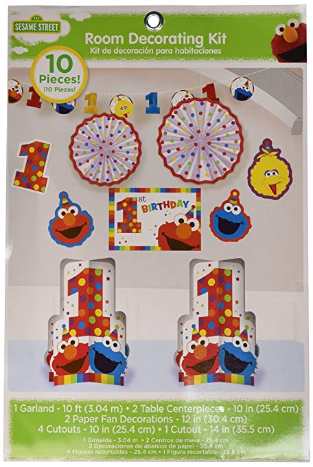 Amazon Amscan 1st Birthday Elmo Room Decorating Kit 10 Piece Party Supplies Sesame Street Fun To Be One Toys Games