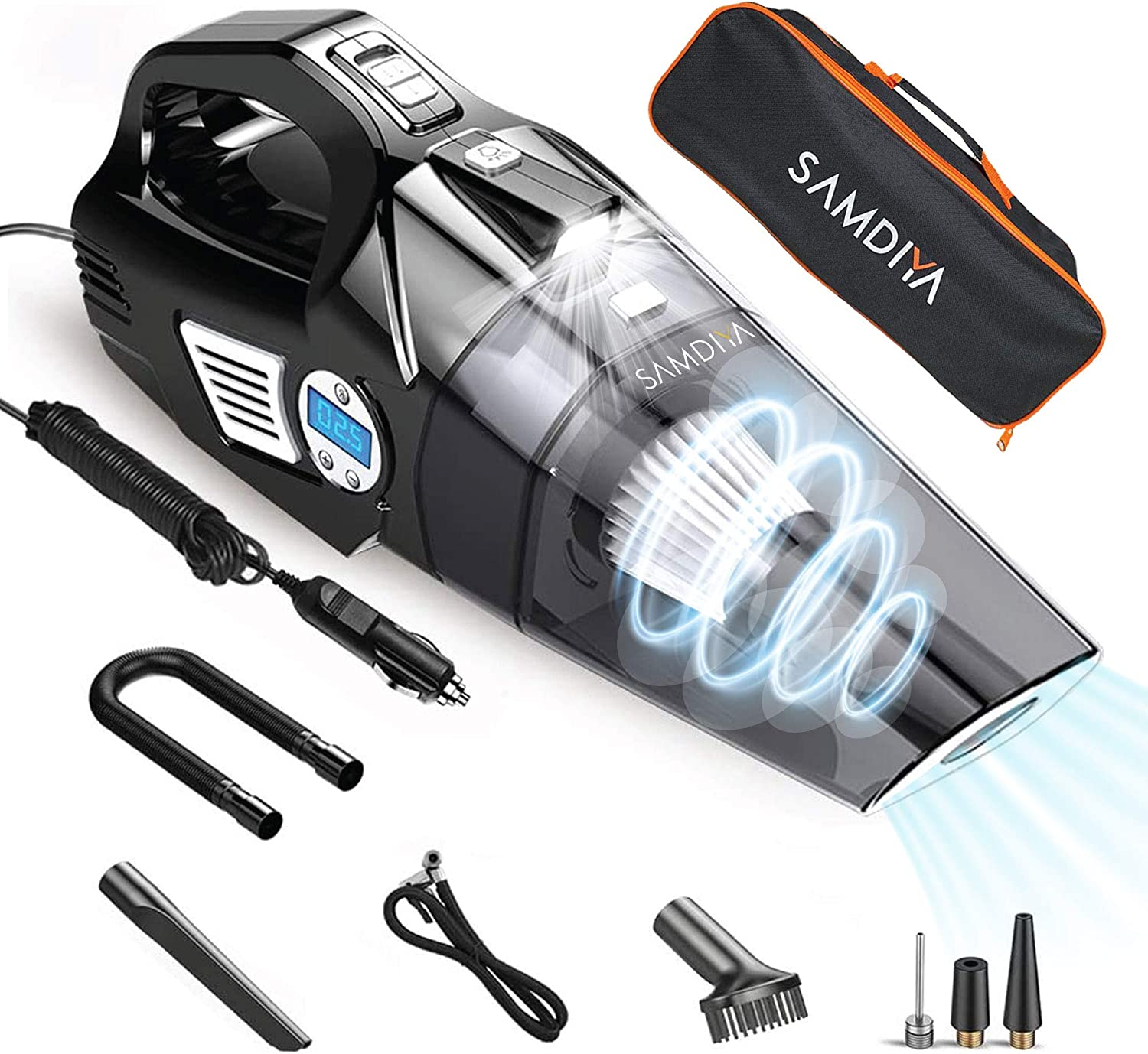 Auto Shut Off Feature SAMDIYA 4 in 1 Small Hand Car Vacuum Cleaner-5500Pa Air Compressor Pump with Digital Tire Pressure Gauge LCD Display 16 Foot Cord,Bonus HEPA Filter and Nozzle