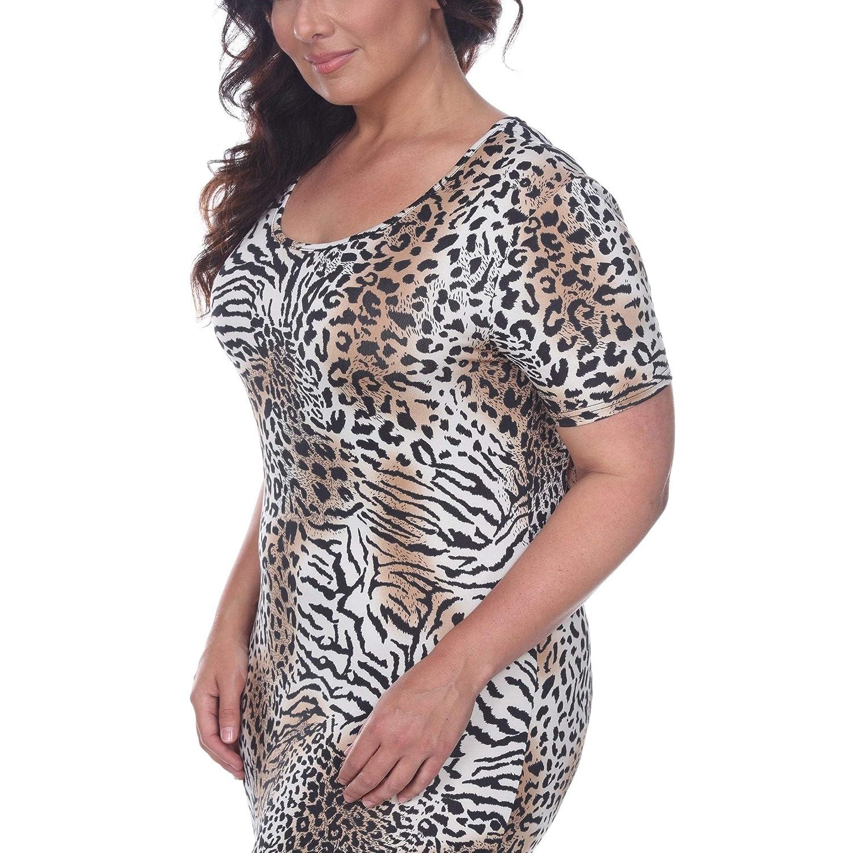 White Mark Plus Size Animal Print Jasmine Maxi Dress Cream/Black 1X