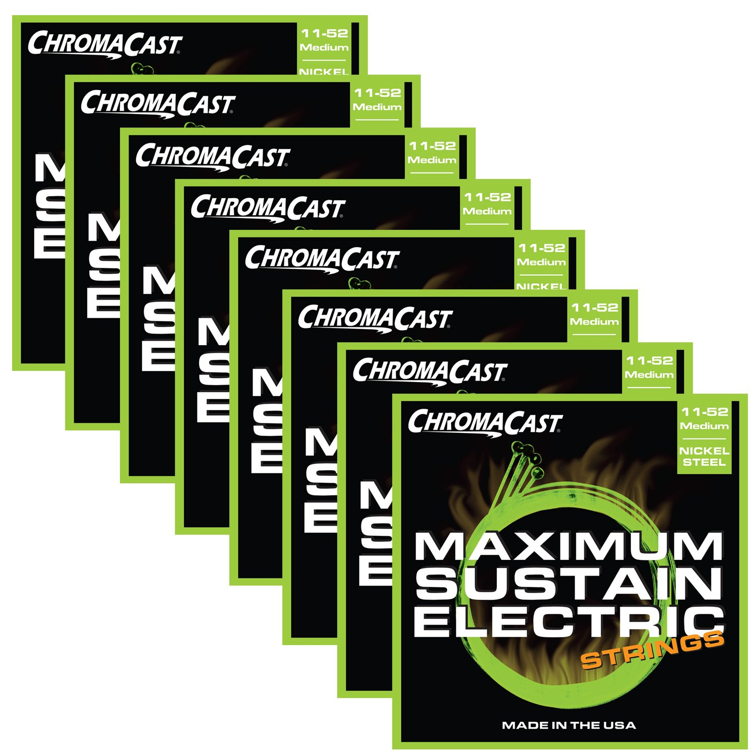 ChromaCast Maximum Sustain Medium-Light Gauge(.010-.046) Electric Guitar Strings, 8-Pack CC-GS-MS-ML-8PACK