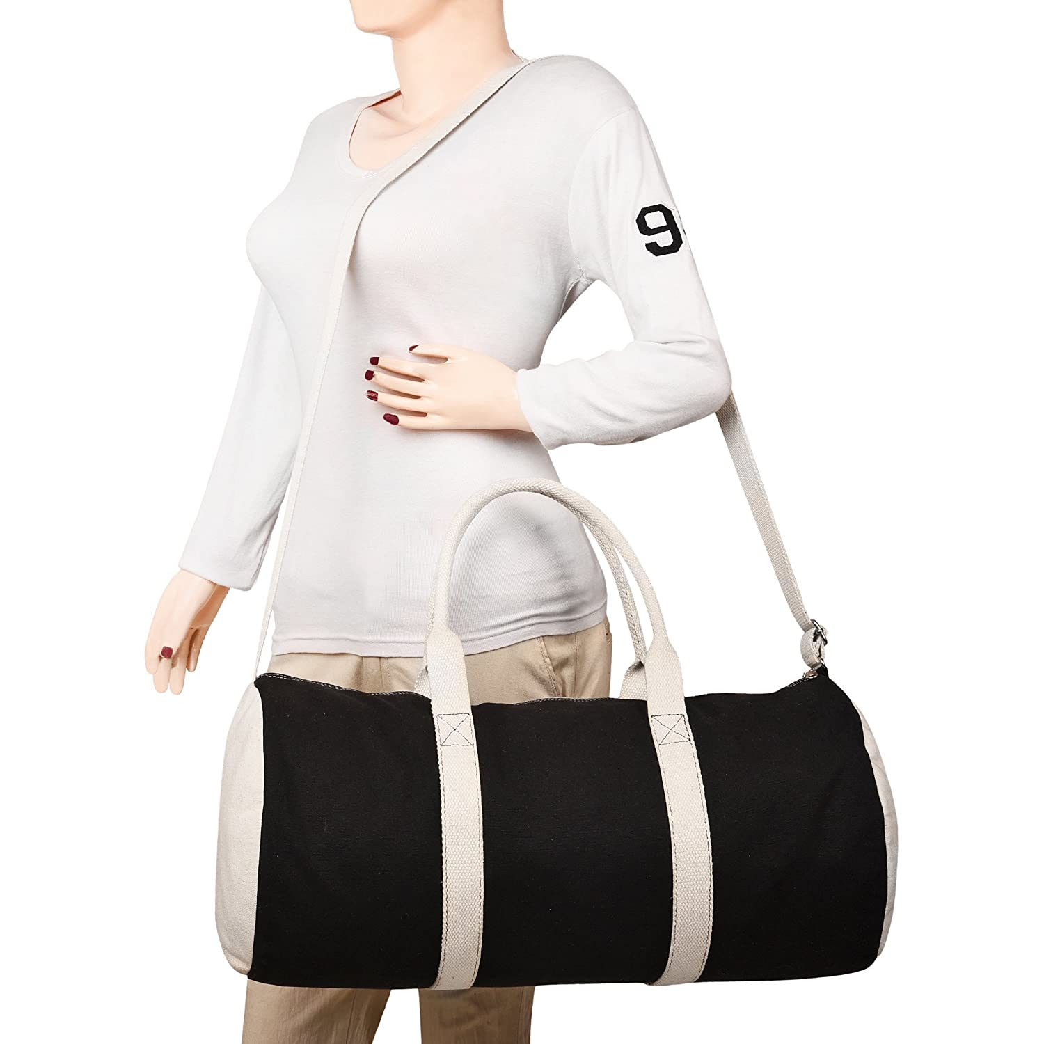 0bf0ae74d2 Anekaant Monochrome Black Off-white Canvas Duffle Bag  Amazon.in  Bags