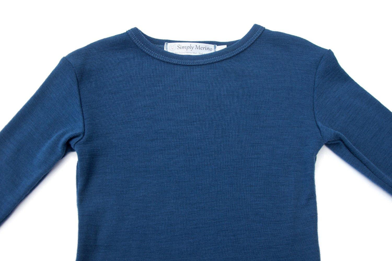 Pure Merino Wool Kids Thermal Top. Base layer Underwear Pajamas. BLUE 9-10 Yrs by Simply Merino (Image #2)