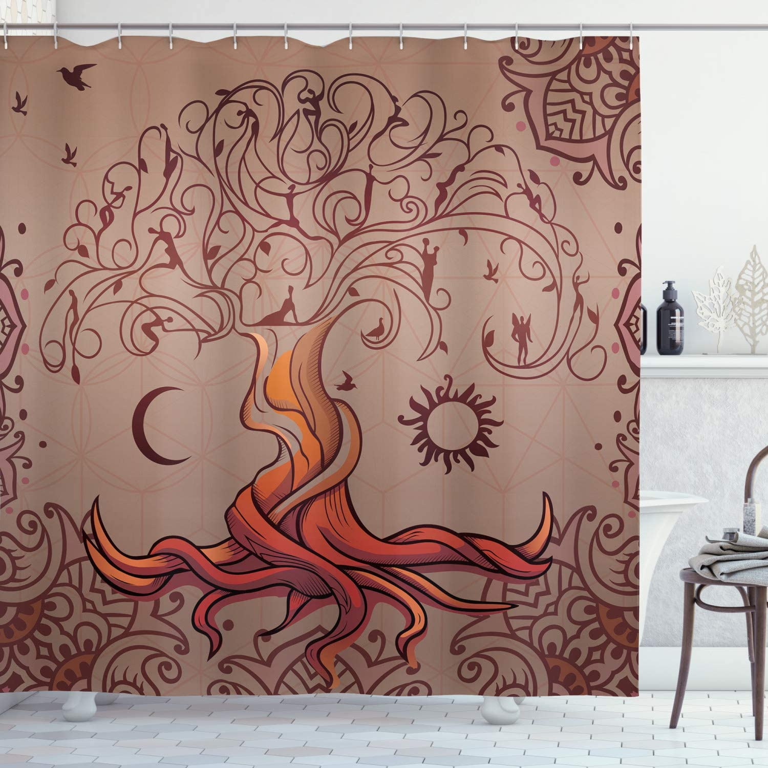 """Ambesonne Ethnic Shower Curtain, Vintage Tree of Life with Sun and Moon Elf on Branches Enchanted, Cloth Fabric Bathroom Decor Set with Hooks, 75"""" Long, Orange Mauve"""
