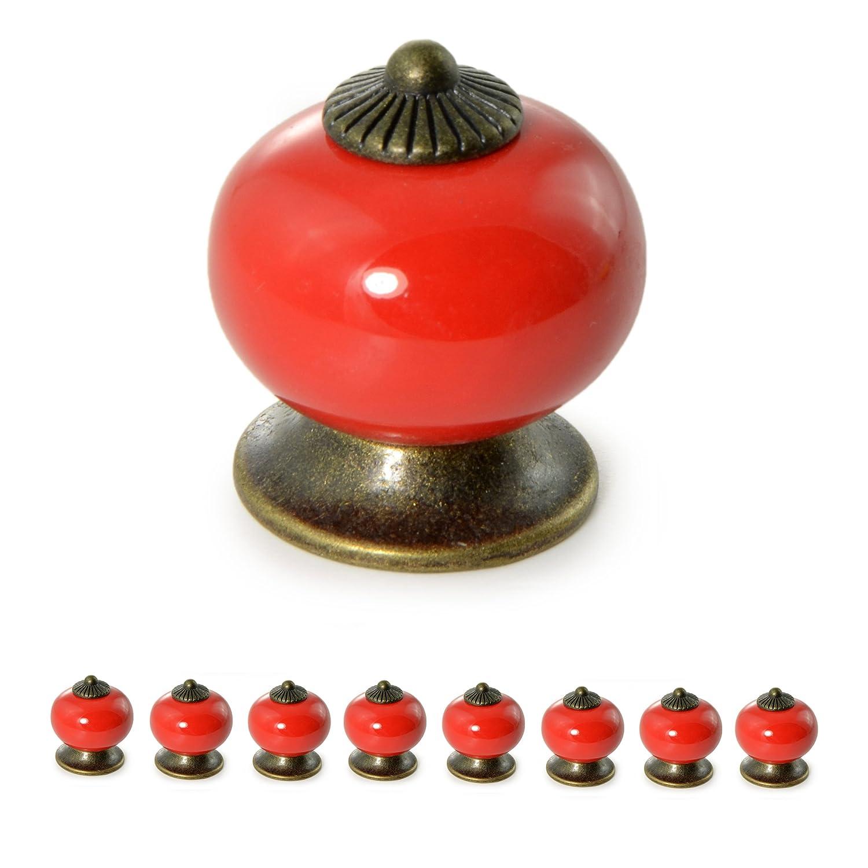 8 Boutons de meuble en porcelaine//c/éramique,poign/ées pour meuble,tiroir,armoire