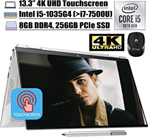 "2020 Newest HP Spectre x360 2 in 1 Laptop 13.3"" 4K UHD Touchscreen Intel Quad-Core i5-1035G4 (Beats i7-7500U) 8GB DDR4 256GB PCIe SSD Thunderbolt Backlit FP AlexaPen Win 10 + iCarp Wireless Mouse"