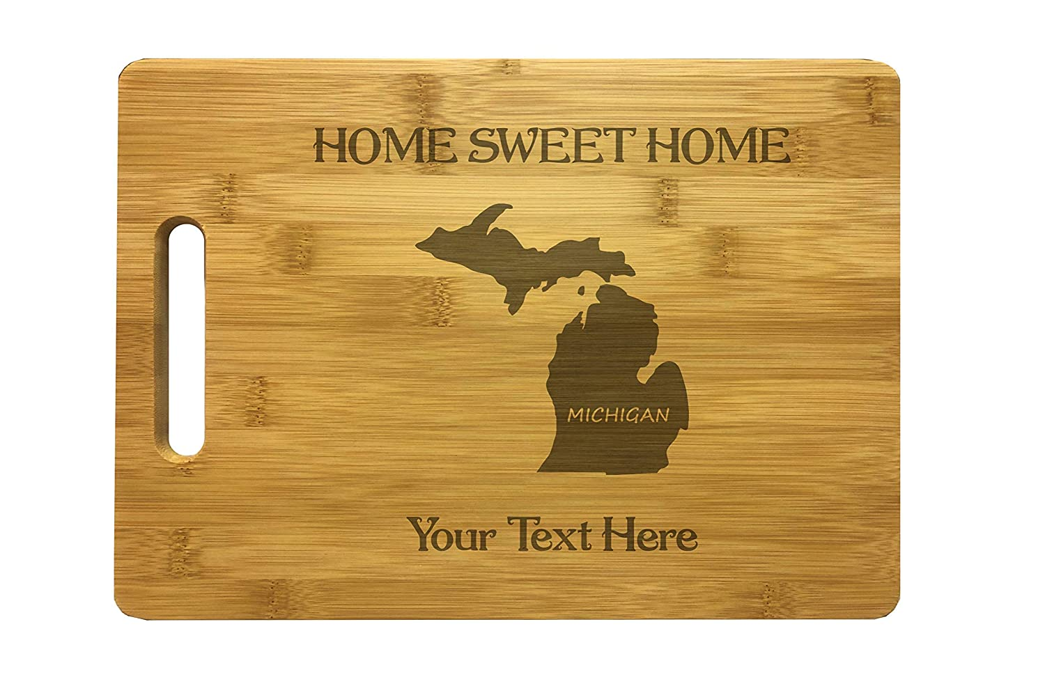 Michigan State Gift Cooking Chef Kitchen Gift Housewarming Gift Bamboo or Maple Personalized Michigan Home Sweet Home Engraved Cutting Board