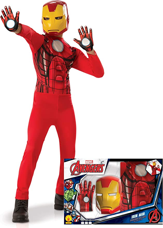 Generique - Disfraz clásico Iron Man con Guantes niño en Caja 5 a ...