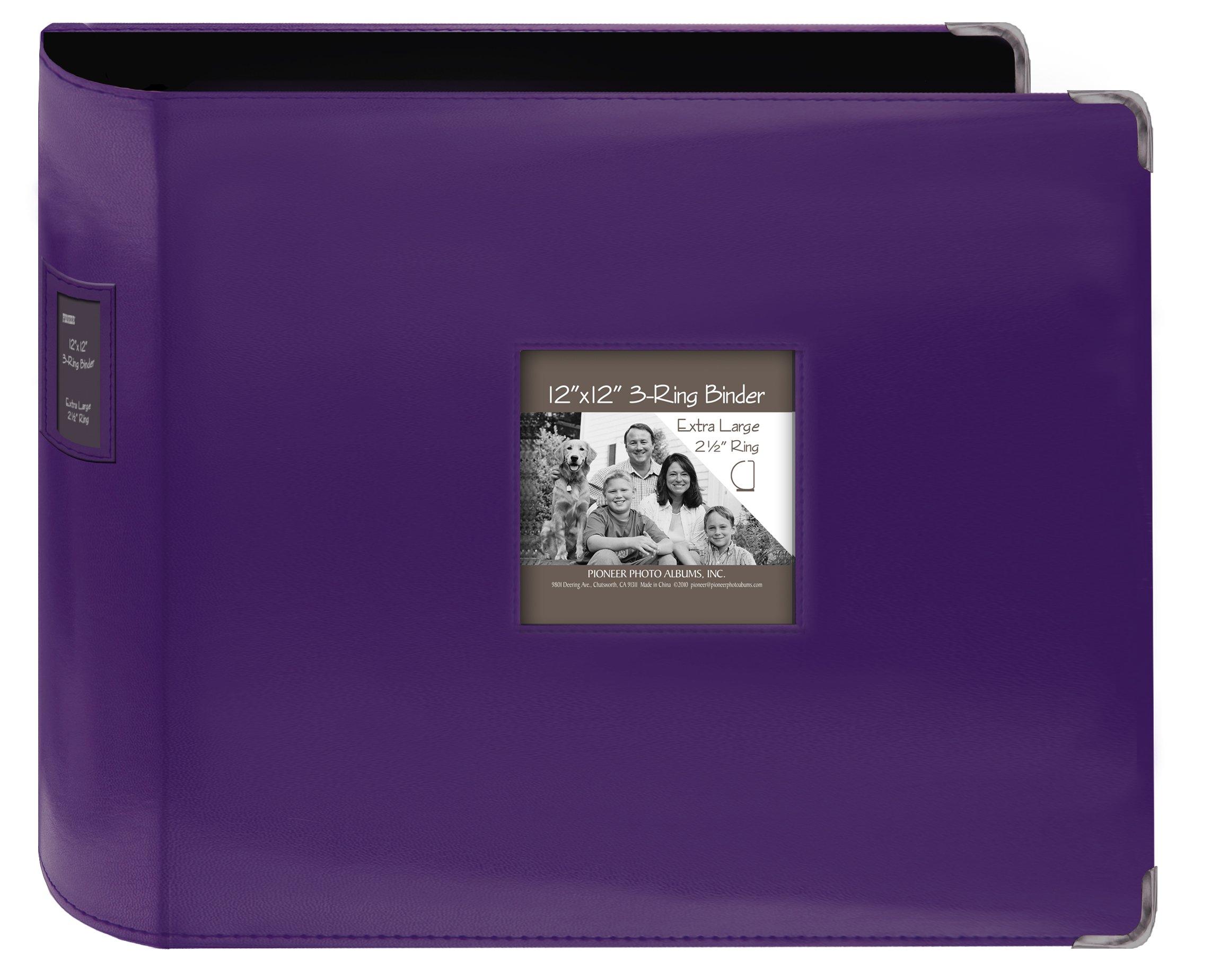 Pioneer Sewn Leatherette 3-Ring Binder 12''X12''-Bright Purple