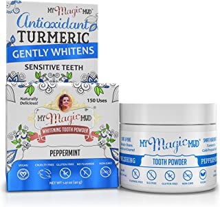 product image for My Magic Mud - Turmeric Tooth Powder, Polishes, Soothes Gums & Mouth, Peppermint, 1.41 oz. (150 uses)