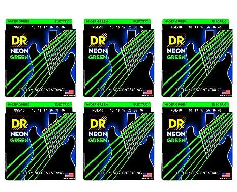 Dr cuerdas nge-10 mediano Neon Hi-Def verde 6 unidades cuerdas para guitarra