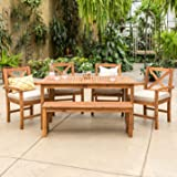 2afb939c67 Walker Edison Furniture Company Acacia Wood Simple Patio 6-Piece Dining Set  with x-