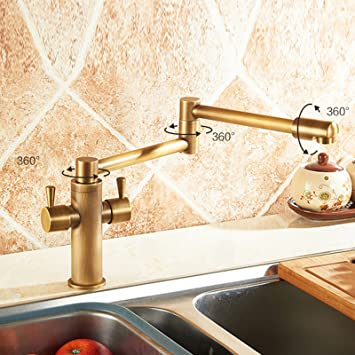 Senlesen Deck Mounted Antique Brass Bathroom Faucet Kitchen Sink Mixer Tap  Swivel Spout With Cover Plate
