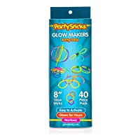 PartySticks Moondance Glow Sticks and Connectors - 40pk Party Decorations Glow in The Dark Party Favors with 16 Glow Sticks, 24 Connectors for Light Up Glasses, Glow Necklaces, Glow Bracelets