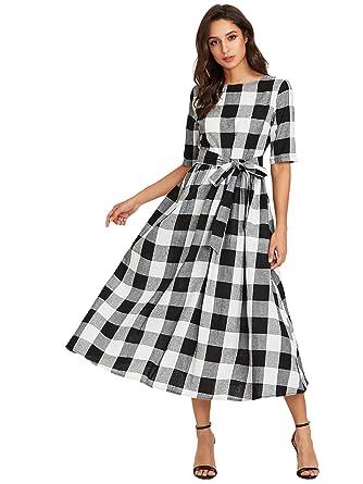 a49b7cddc5b Verdusa Women's Flared Tie Waist Belted Checkered Tunic Maxi Long Dress  Black XS