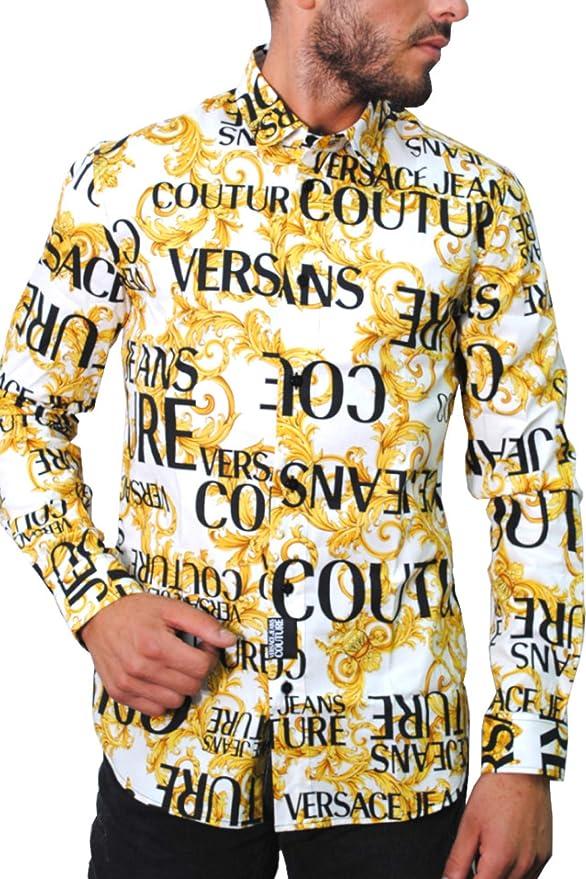 Versace Jeans - Camisa para Hombre, Color Blanco Bianco 48: Amazon.es: Ropa y accesorios